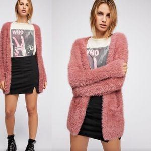 Free people furry cardigan pink xs